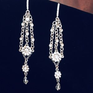 Carolee Silvertone crystal dangle earrings
